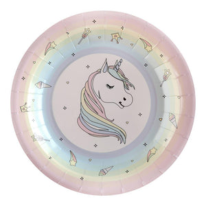 Rainbow Unicorn Party Paper Plates (x10)