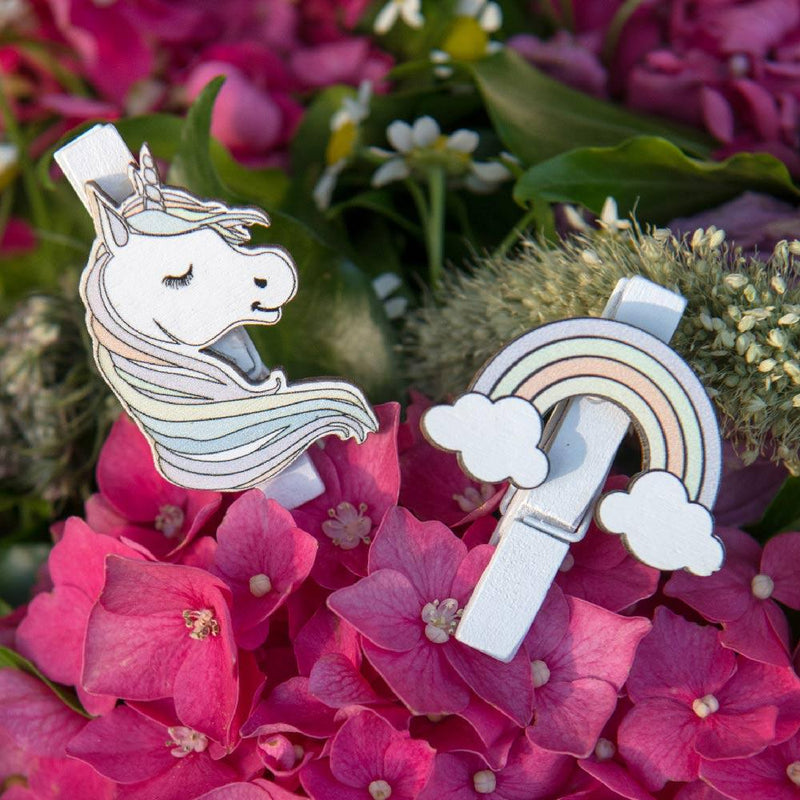 Rainbow Unicorn Party Pegs (x6)