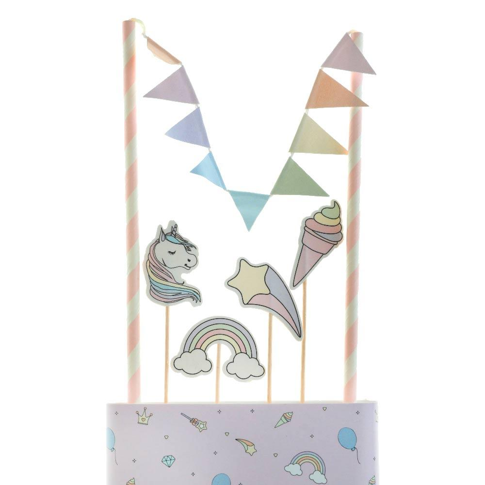 Rainbow Unicorn Cake Toppers (x6)
