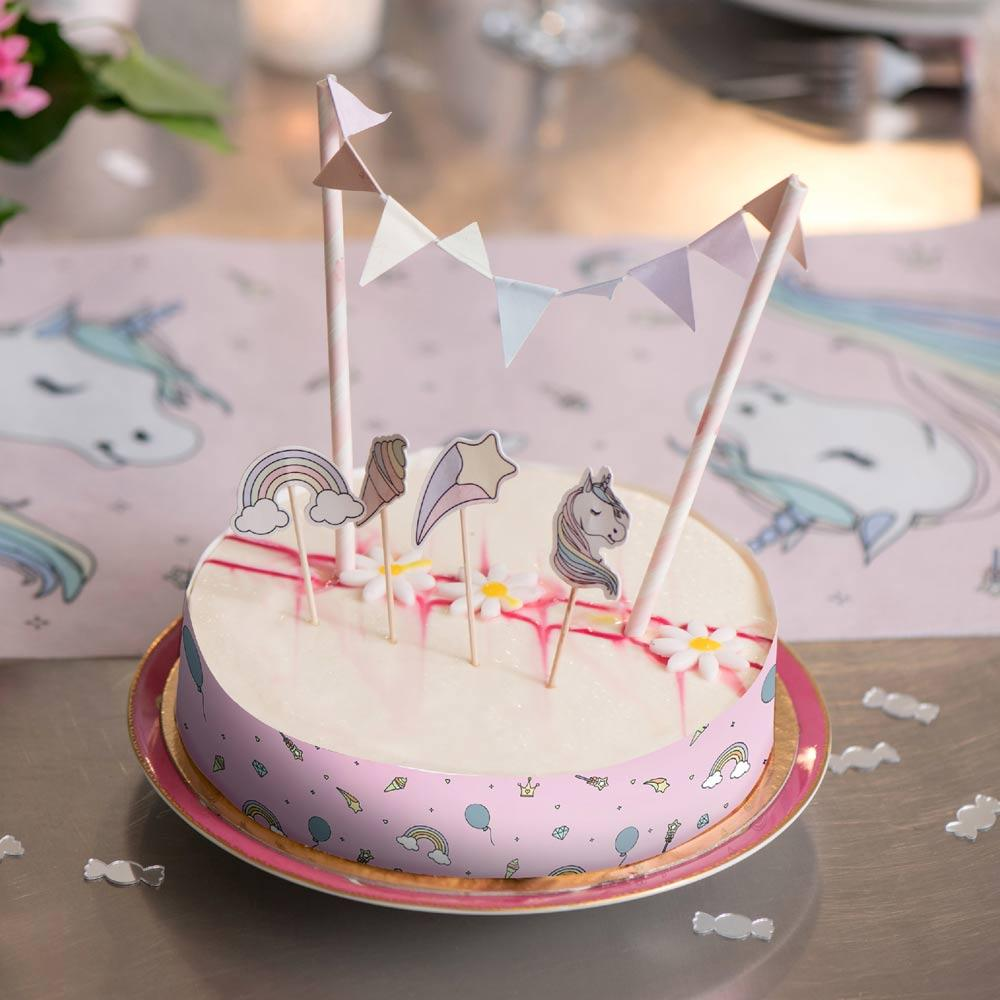 Rainbow Unicorn Cake Decorations (x6)
