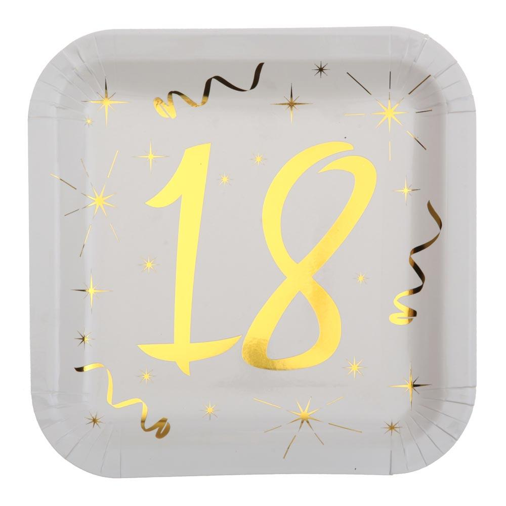 18th Birthday White & Gold Paper Party Plates (x10)