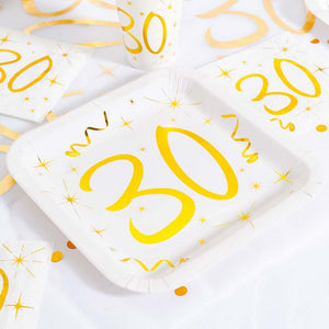 30th Birthday White & Gold Paper Party Plates (x10)