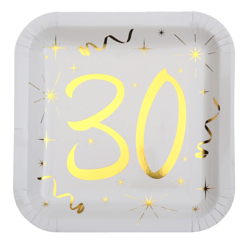30th Birthday White & Gold Sparkle Plates (x10)
