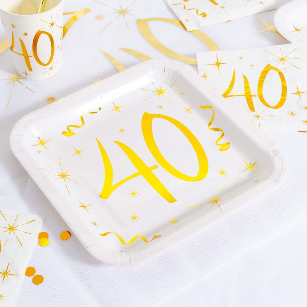 40th Birthday White & Gold Paper Party Plates (x10)