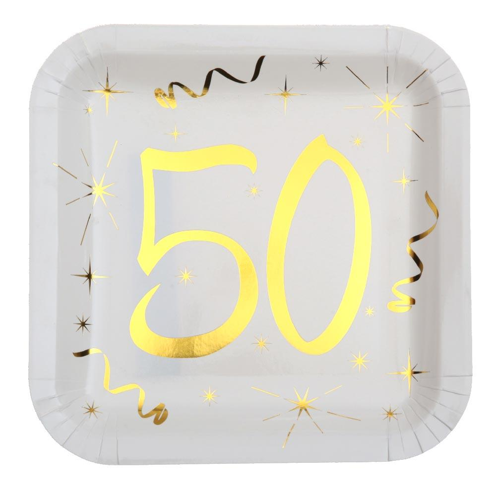 50th Birthday White & Gold Paper Party Plates (x10)