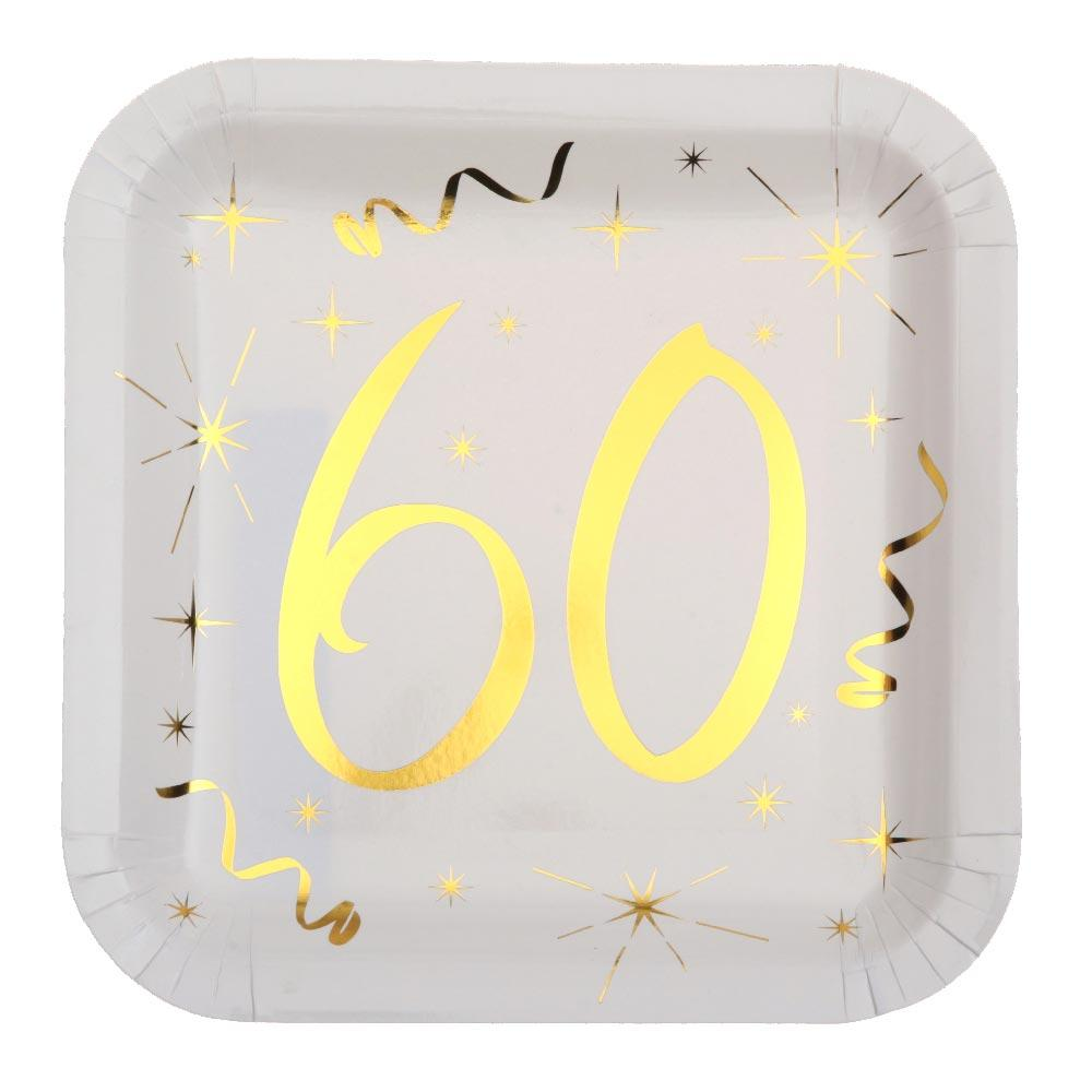 60th Birthday White & Gold Sparkle Plates (x10)
