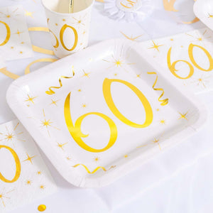 60th Birthday White & Gold Paper Party Plates (x10)