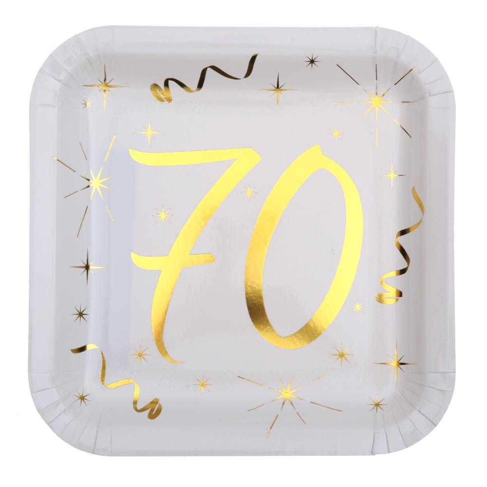 70th Birthday White & Gold Paper Party Plates (x10)