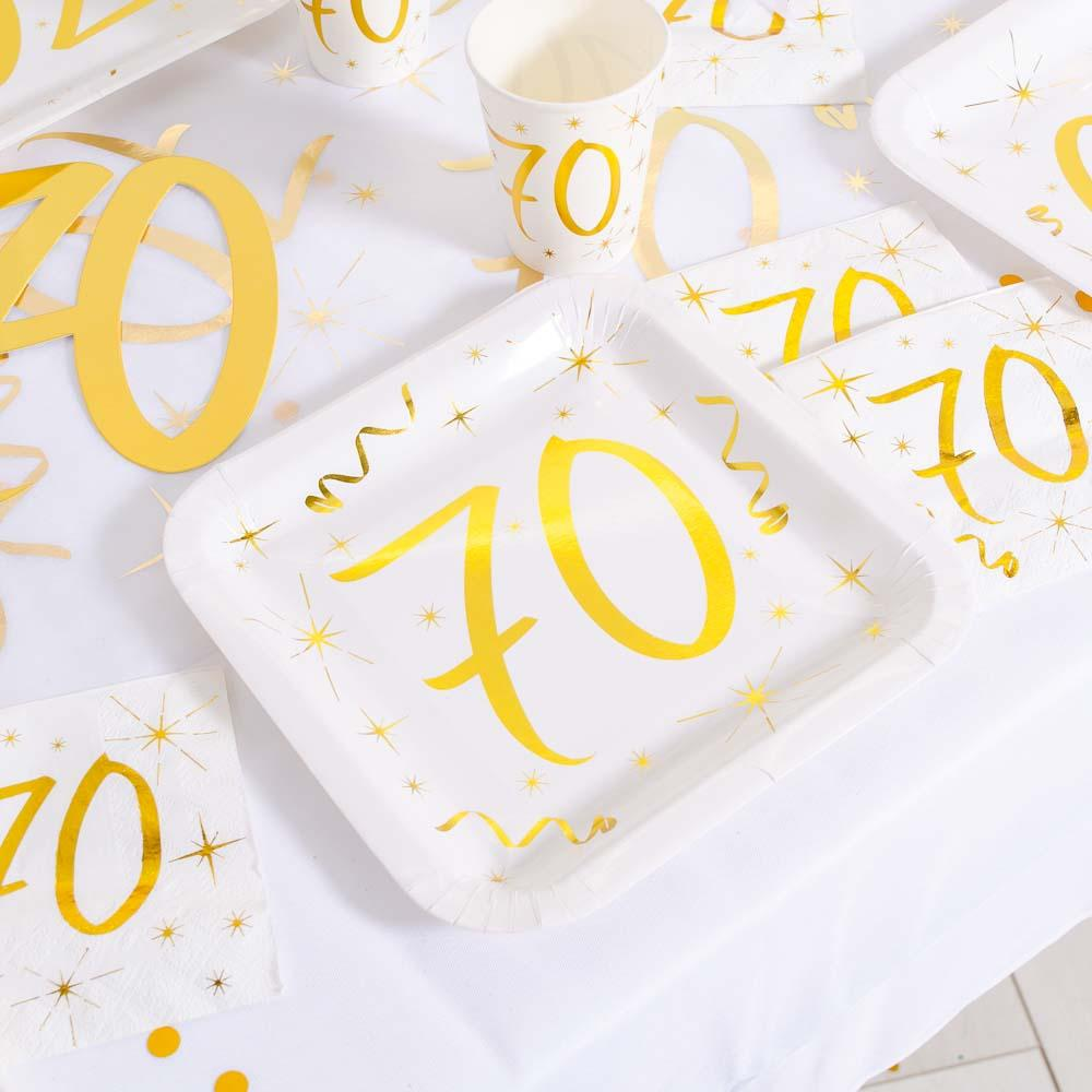 70th Birthday White & Gold Sparkle Plates (x10)