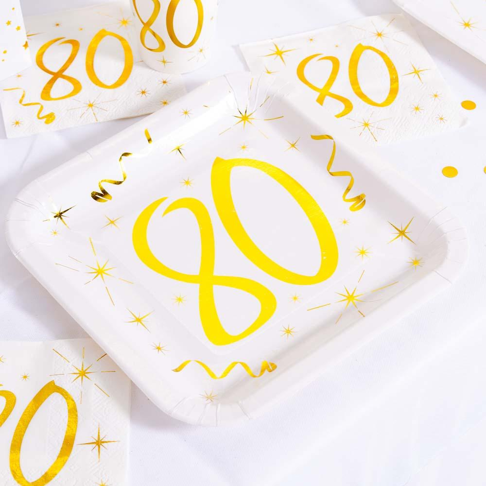 80th Birthday White & Gold Paper Party Plates (x10)