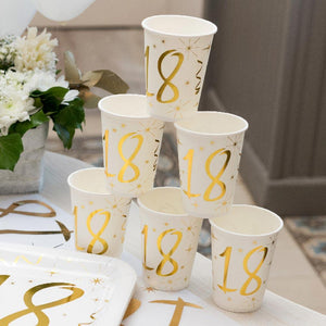 18th Birthday White & Gold Paper Party Cups (x10)