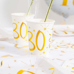30th Birthday White & Gold Sparkle Cups (x10)