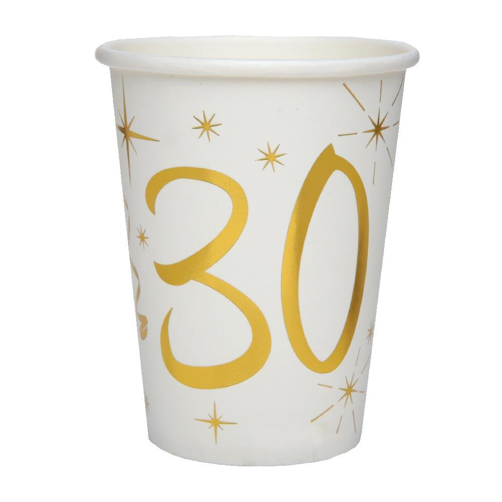 30th Birthday White & Gold Paper Party Cups (x10)