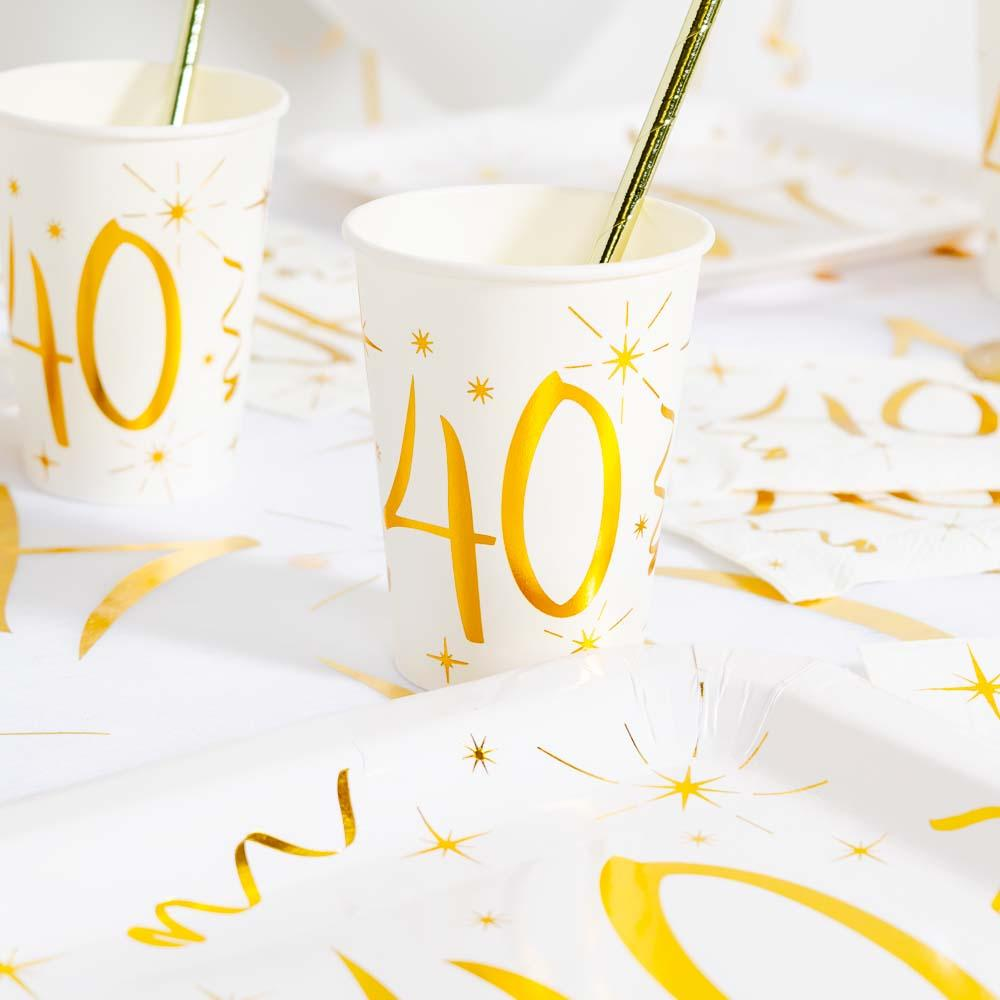 40th Birthday White & Gold Paper Party Cups (x10)