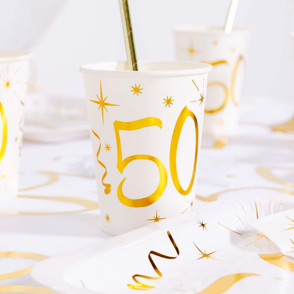 50th Birthday White & Gold Paper Party Cups (x10)