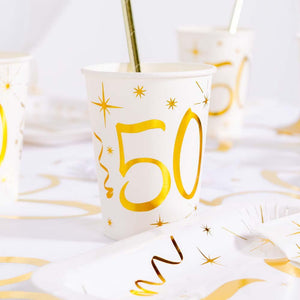 50th Birthday White & Gold Sparkle Cups (x10)