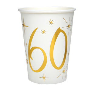 60th Birthday White & Gold Paper Party Cups (x10)