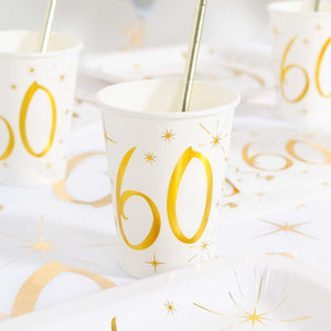 60th Birthday White & Gold Sparkle Cups (x10)