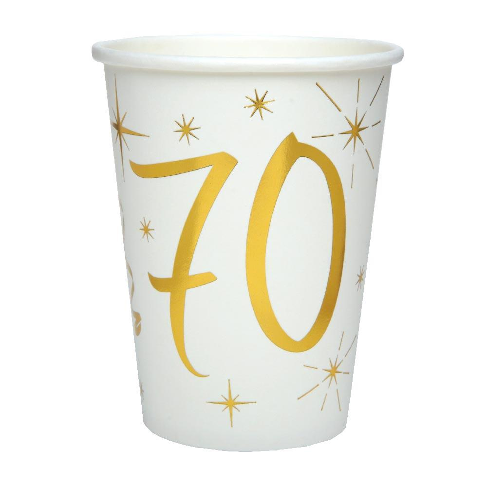 70th Birthday White & Gold Paper Party Cups (x10)