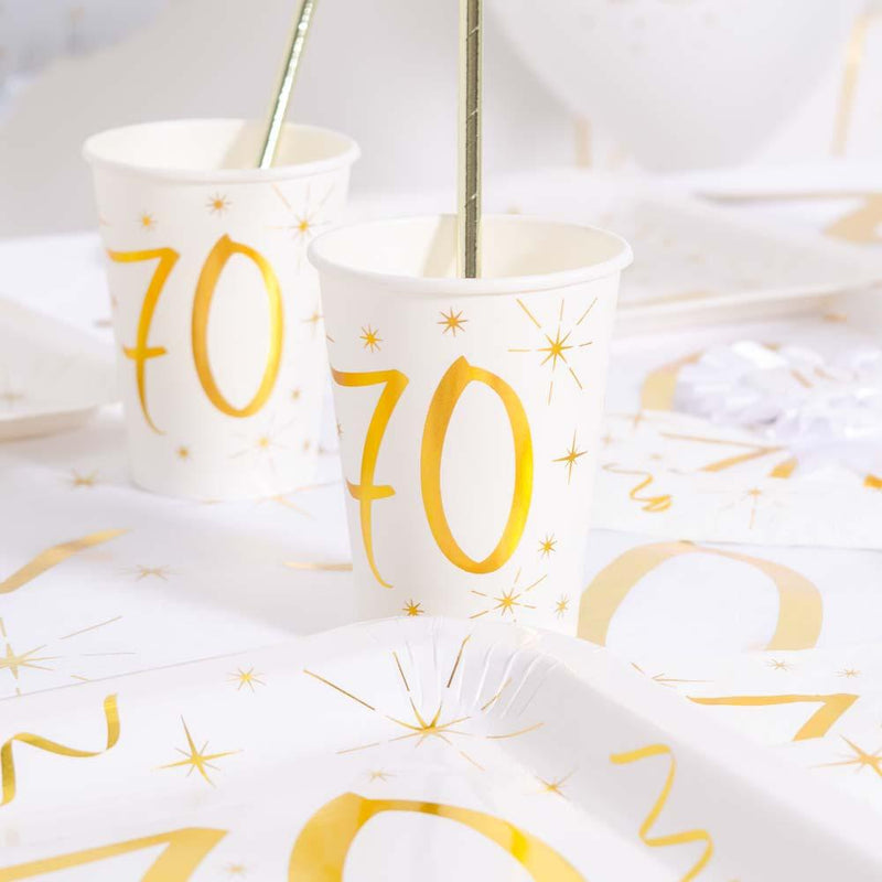 70th Birthday White & Gold Sparkle Cups (x10)