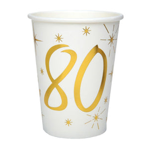 80th Birthday White & Gold Paper Party Cups (x10)