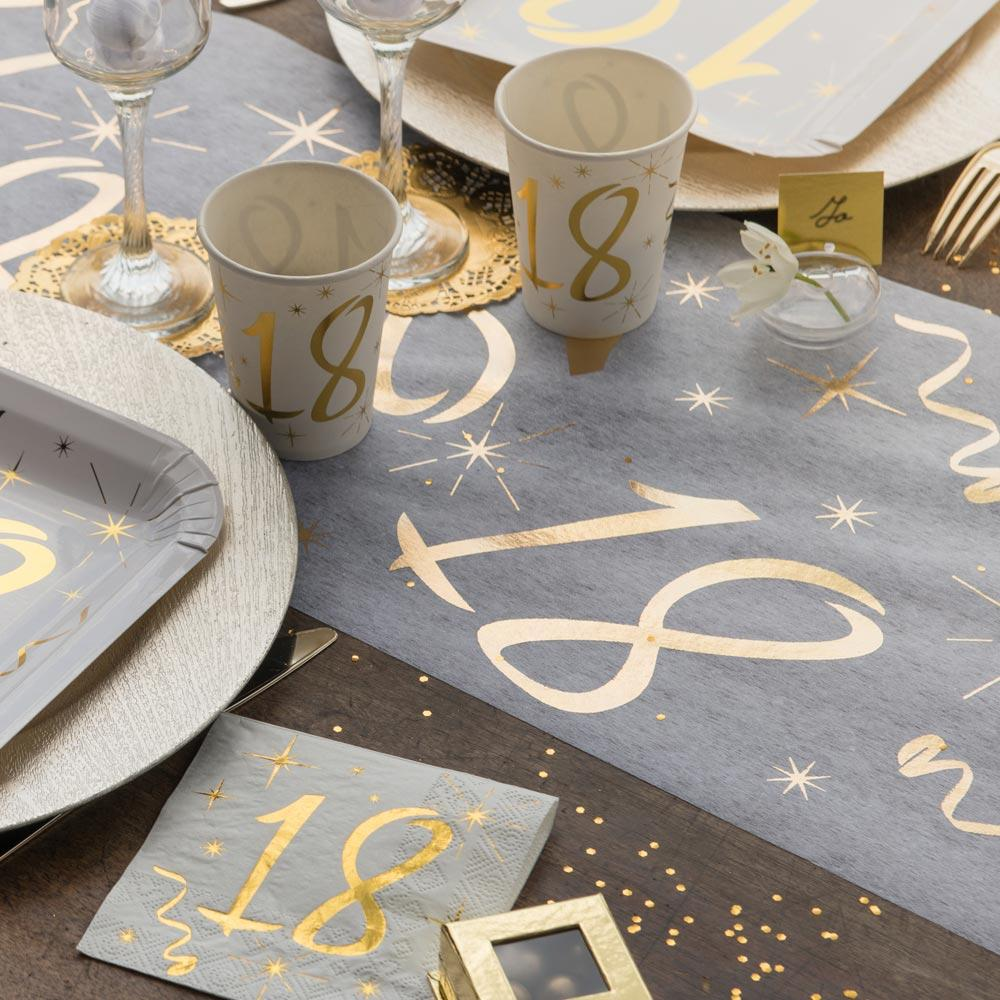18th Birthday White & Gold Sparkle Table Runner