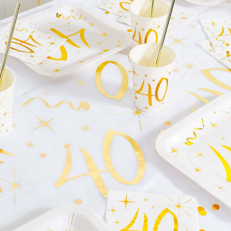 40th Birthday White & Gold Sparkle Table Runner