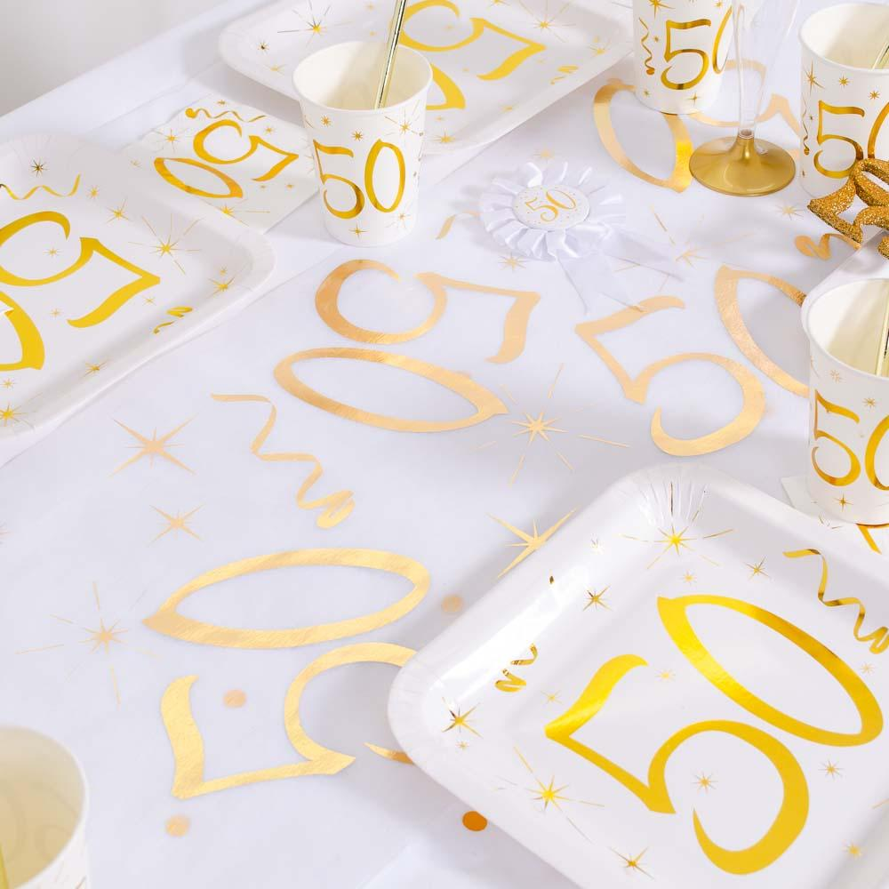 50th Birthday White & Gold Sparkle Table Runner