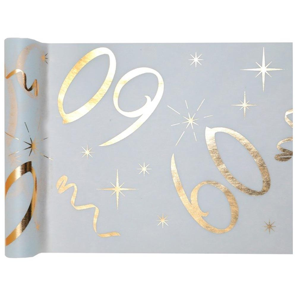 60th Birthday White & Gold Table Runner