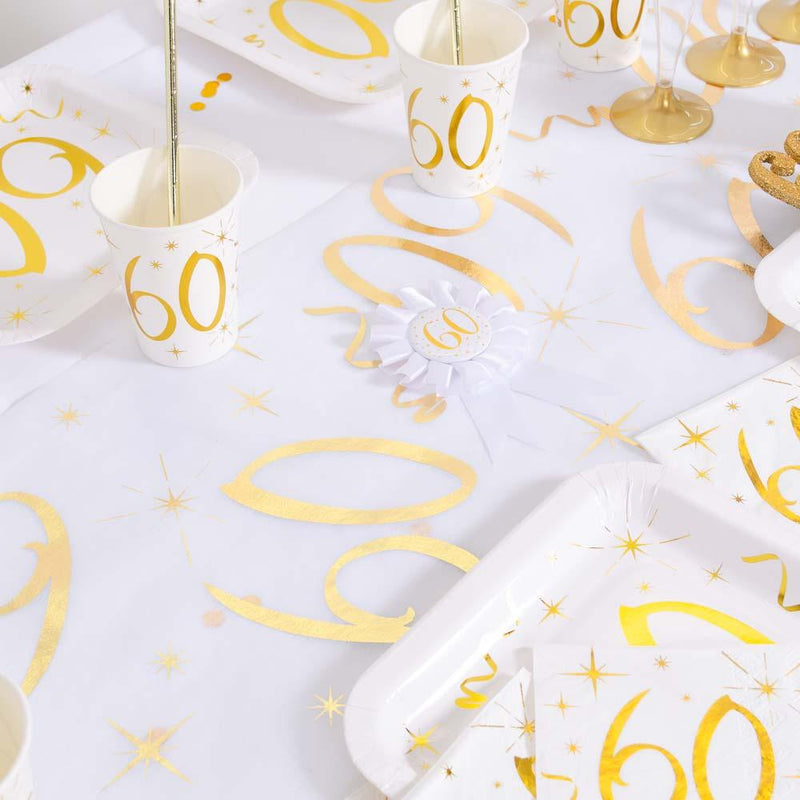 60th Birthday White & Gold Sparkle Table Runner