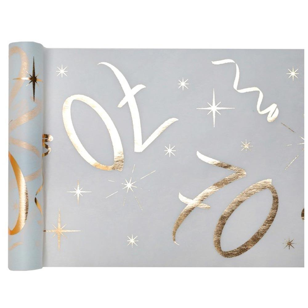 70th Birthday White & Gold Sparkle Table Runner