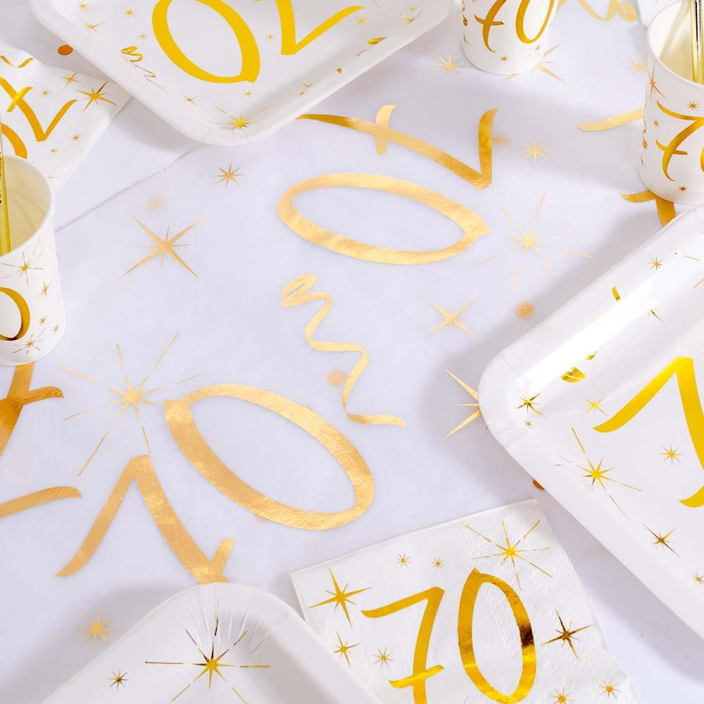 70th Birthday White & Gold Table Runner