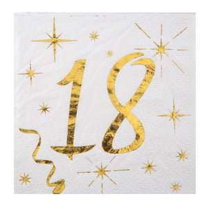 18th Birthday White & Gold Sparkle Napkins (x20)