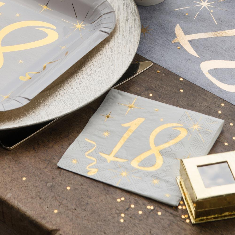 18th Birthday White & Gold Napkins (x20)