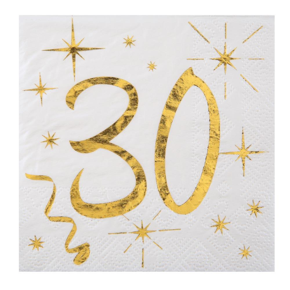 30th Birthday White & Gold Sparkle Napkins (x20)