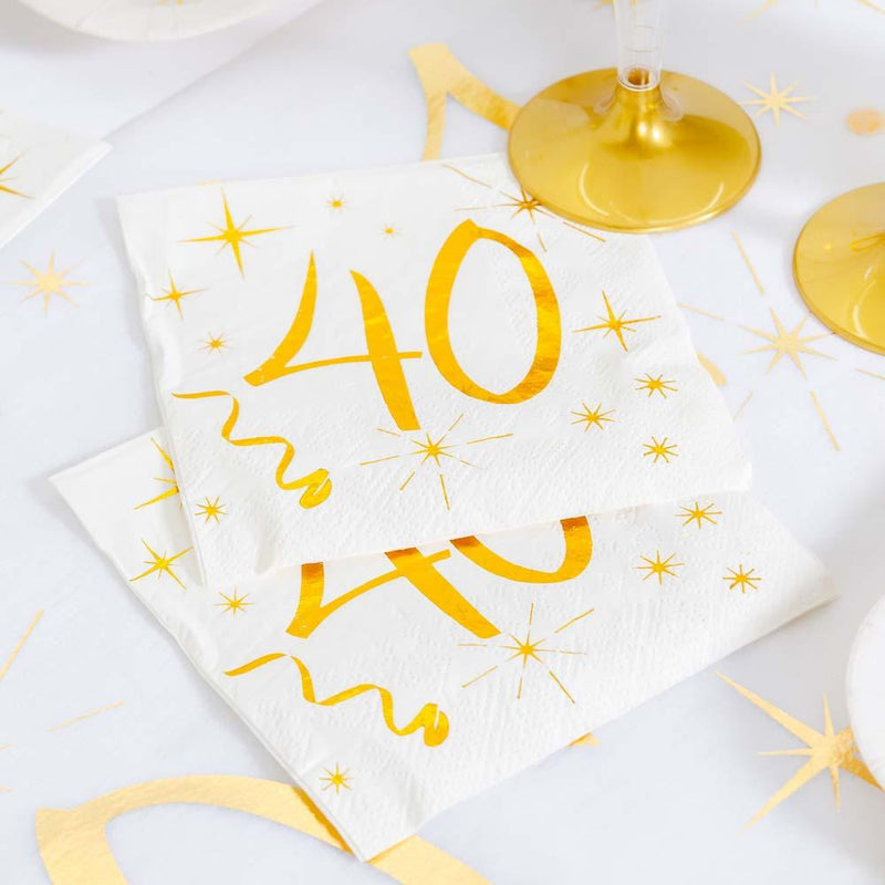 40th Birthday White & Gold Sparkle Napkins (x20)
