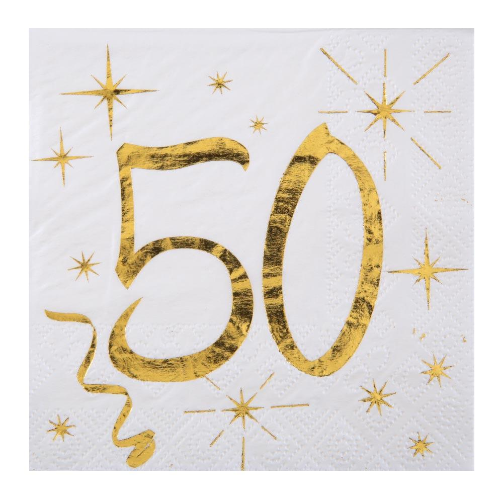 50th Birthday White & Gold Sparkle Napkins (x20)