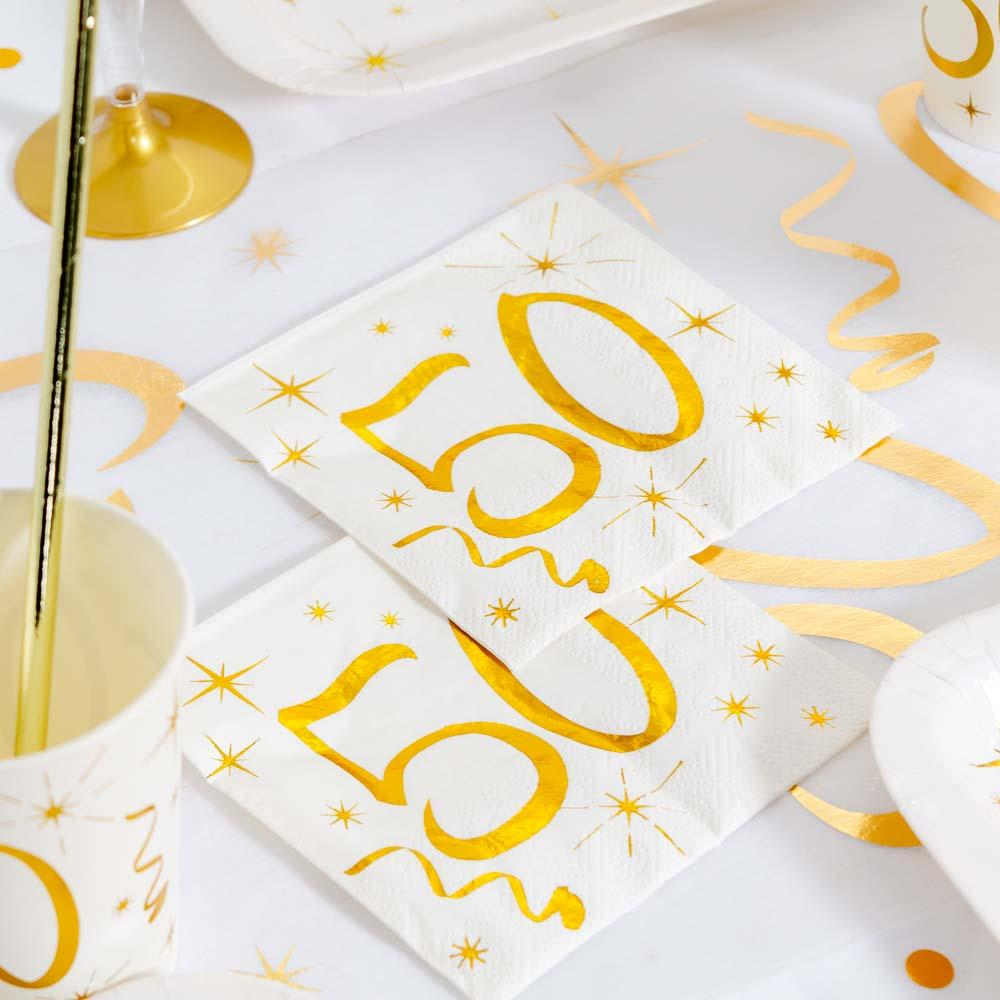 50th Birthday White & Gold Napkins (x20)
