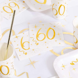 60th Birthday White & Gold Sparkle Napkins (x20)