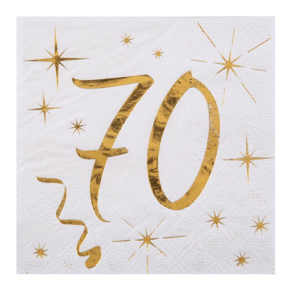 70th Birthday White & Gold Napkins (x20)