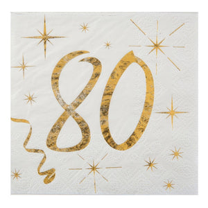 80th Birthday White & Gold Sparkle Napkins (x20)