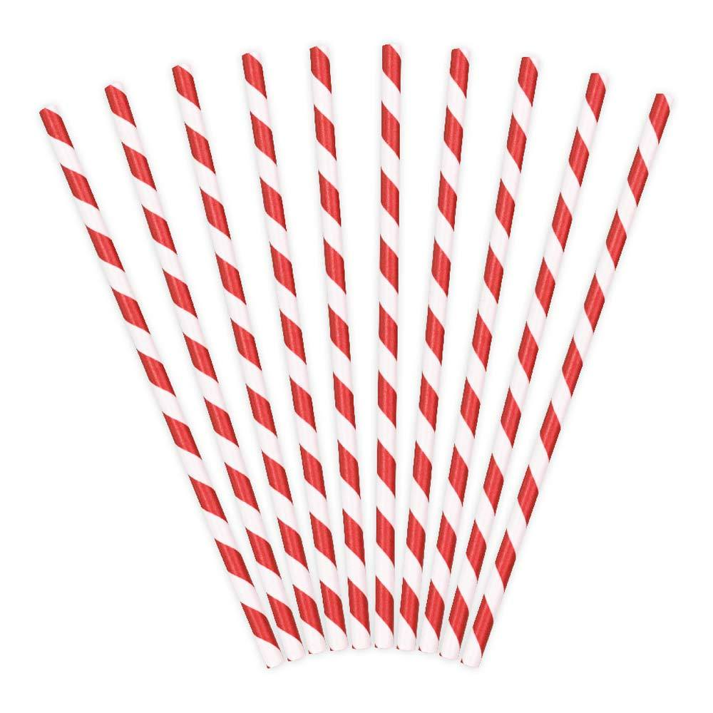 Striped Paper Straws - Red (x10)
