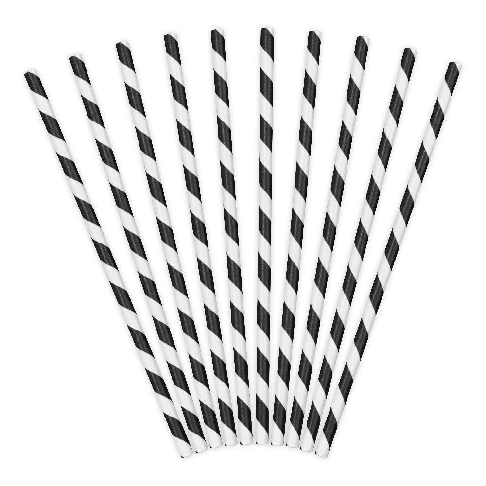 Striped Paper Straws - Black (x10)