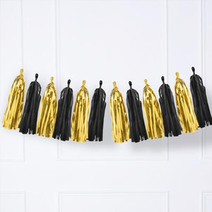 Black and Gold Tassel Garland Mix
