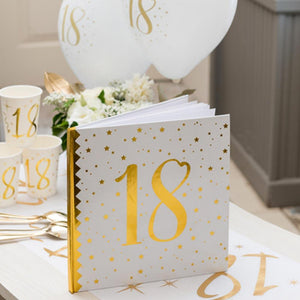 18th Birthday White & Gold Guest Book