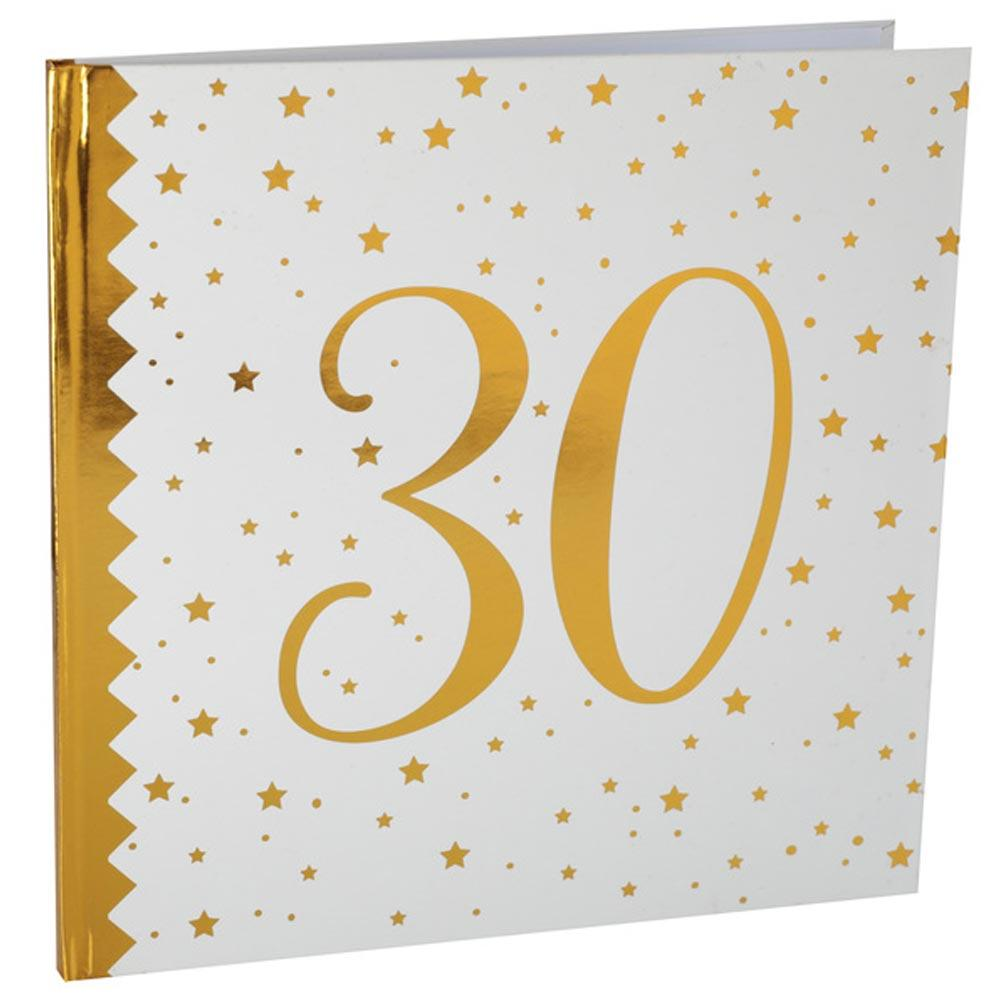 30th Birthday White & Gold Guest Book