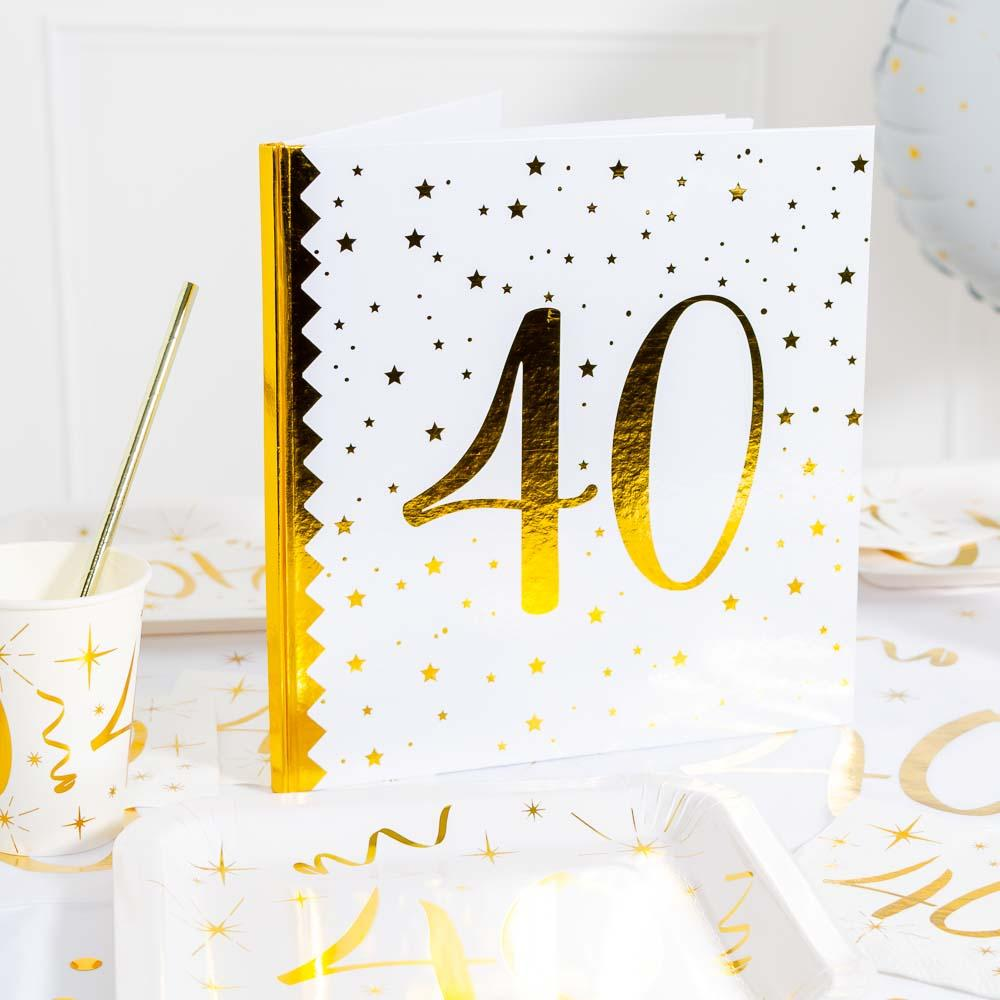 40th Birthday White & Gold Guest Book