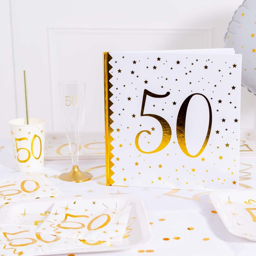 50th Birthday White & Gold Guest Book