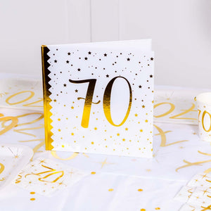 70th Birthday White & Gold Sparkle Guest Book