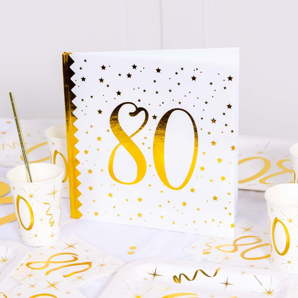 80th Birthday White & Gold Guest Book